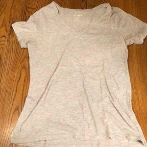 Grey/pink heathered v-neck t-shirt